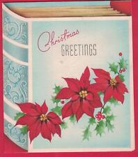 VTG MC CHRISTMAS CARD BOOK DECORATED WITH POINSETTIAS HOLLY & BERRIES