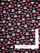 Cat Fabric - Kitty Cat Skull Heart With Glitter CM3820 Timeless Treasures - Yard