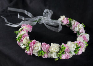 Handmade Boho wedding Flower Headband Hair Wreath Halo Floral Garland Crown Head