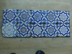 Antike Holländische Delft Fliesen Kachel Tile, 10 Stück, um 1900