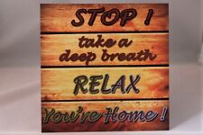 Vintage Sq metal wall sign plaque Stop your Home Relax , present or gift idea