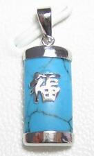 Genuine Turquoise 18K WGP Good Fortune Pendant