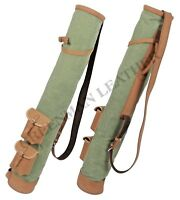 TAN LEATHER CANVAS GOLF CLUB BALL BAG TWO POCKETS (FREE P&P-UK)