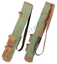 TAN COWHIDE LEATHER CANVAS GOLF CLUB BALL BAG TWO POCKETS FREE P&P UK