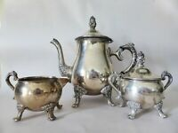 Vintage Silver Plated Tea Set with Floral Detail, Footed Teapot, Metal Tea Pot
