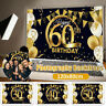 30-60th Birthday Backdrop Happy Party Black Gold Balloon Photo Background Banner