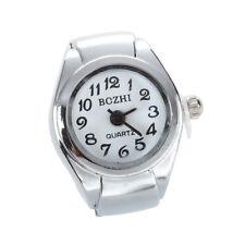 Unisex Quartz Alloy Round White Dial Arabic Numerals Ring Watch Silver G3A1