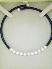 Ross Simons Sterling Silver Black Braided  Leather Freshwater Pearls Necklace