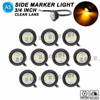 10x High Low 3 LED Clear / Amber 3/4 Inch Round Side Marker Light RV Trailer 12V