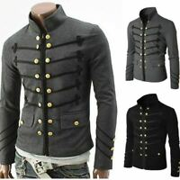 Men's Hooded Jacket Long Cardigan Goth Gothic Punk Hoodie Black Cape M-4XL