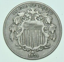 More details for rare usa, united states five cents, nickel, 1871 coin f/vf