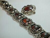 Vintage Niels Erik From Denmark Sterling Silver Amber Bracelet and Brooch