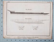 1801 PRINT NAVAL MARINE ARCHITECTURE LAUNCH BARGE FOR FLAG SHIP 1692 DRAUGHT