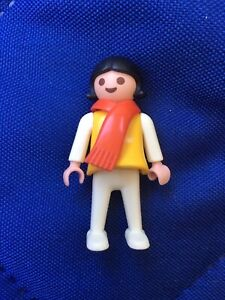 1981 Playmobil Girl Kid Figure w/Black Hair & Red Scarf