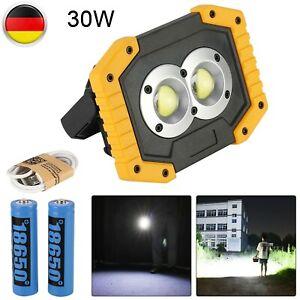 30-LED Akku Strahler Arbeitsleuchte Baustrahler Handlampe Flutlicht Fluter DHL