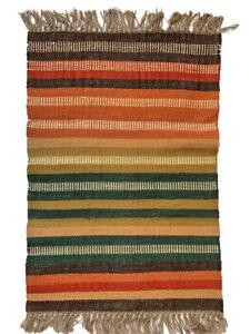 Kilim Rug Rainbow Stripes Wool Jute Indian 60x90cm 2x3' Kelim  Handmade