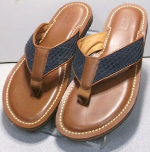253747 SD50 Men's Shoes Size 9 M Navy / Brown Leather Sandals Johnston & Murphy