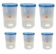 6 x Clear Plastic Food Storage Box Containers With Colour Lids Stacking