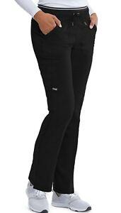 "Grey's Anatomy 005 Elastic Drawcord Cargo Detailed Scrub Pant in ""Black"" Size XL"