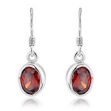 Sterling Silver Earrings Ladies Garnet Cz Oval