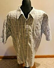 Cobra Creek Mens Short Sleeve Casual Button Front White Grey Plaid No size tag
