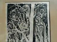 ARTIST SIGNED WOODCUT OF ADAM AND EVE