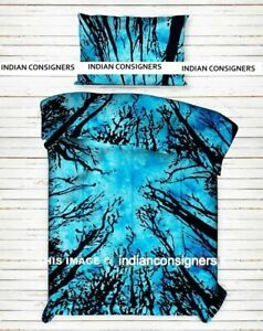 Forest Tree Design Cotton Duvet Cover Twin Size Reversible Comforter Quilt Cover