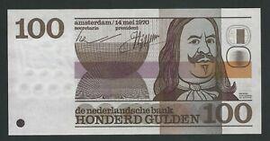 NETHERLANDS  100 GULDEN 1970 AUNC