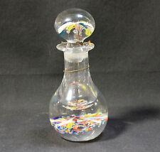 Murano Glass Cologne Bottle Stopper Bright Multicoroled Clear Glass Bottle