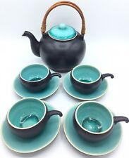 Tea Set Homart Made In Vietnam Cobalt And Aqua Blue Crackle Finish Carry Basket
