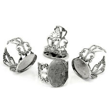 10Adjustable Rings HOT Base Blank Settings Hollow Silver Tone 18.3mm US8