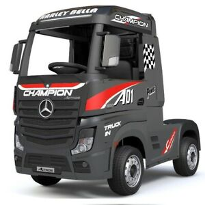 Mercedes-Benz Actros Race Truck, 12V Electric Ride On Toy - Black