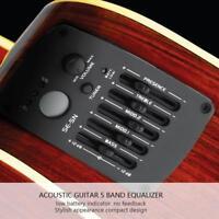 5 Band EQ Equalizer Tonabnehmer Pickup Tuner für Gitarre - Schwarz *NEU* ✪