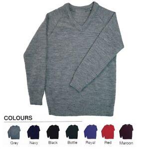 School Uniform V Neck Tank Top Kids Knitted Full Sleeve Jumper Schoolwear Top UK