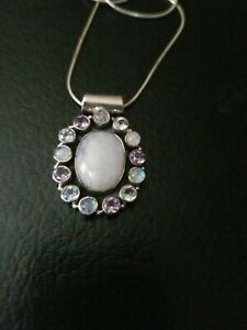 Sterling silver Moonstone/blue Topaz And Amethyst Pendant  With Chain