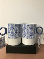 NWT 10 STRAWBERRY STREET Two Paisley Blue Floral Ceramic Mug Coffee Cups LARGE