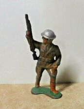 VINTAGE ANTIQUE MANOIL BARCLAY LEAD TOY SOLDIER ARMY CARRYING RIFLE TIN HELMET