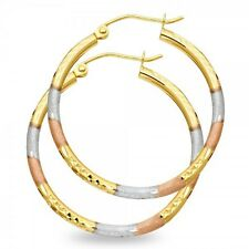 Round Tube Hoop Earrings 14k Yellow White Rose Gold Diamond Cut French Lock