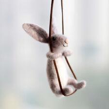 Rabbit On Rope Needle Felting Kit 10cm Easy Adorable for Beginner Gift Set