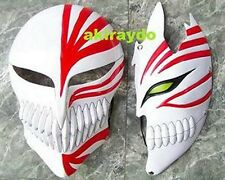 1 Pair Bleach Ichigo Kurosaki Bankai Hollow Mask Full + Half Cosplay Props 2PC