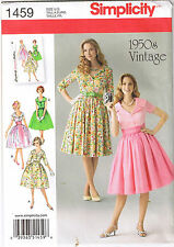 Vintage Retro 50s Rockabilly Lapel Collar Dress Sewing Pattern Sz 8 10 12 14 16