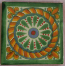 "C174) 9 Handpainted  4"" x 4"" Mexican Clay Talavera Tiles"