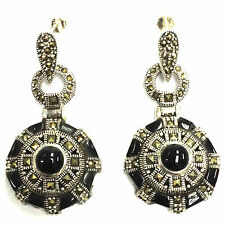 ROUND ART DECO INSPIRED STERLING SILVER ONYX EARRINGS HALLMARKED 925 SILVER