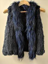 100% Genuine Rabbit Fur/Fox Fur Woven Vest size s(6-8),M(10-12) Navy Blue