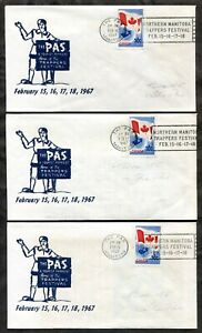 p67 - Canada THE PAS Manitoba 1967 Trappers Festival SLOGAN on 3 Covers Uncommon