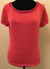 Josephine Chaus Womens Sweater Size Large Red Short Sleeve Embellished Neckline