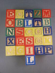 LOT 26 Vtg Playskool Wood Color Alphabet Letters & Objects Building Blocks