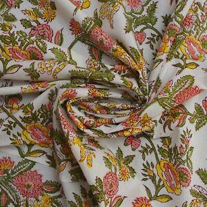 Pearl White Jaal Indian Hand Block Print 100% Cotton Women Dress Craft Fabric