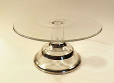 """Vintage Dorothy Thorpe Style Glass Footed Cake Stand Silver Bands 9"""" Diameter"""
