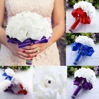 Crystal Roses Pearl Bridesmaid Wedding Bouquet Bridal Artificial Silk Flowers P